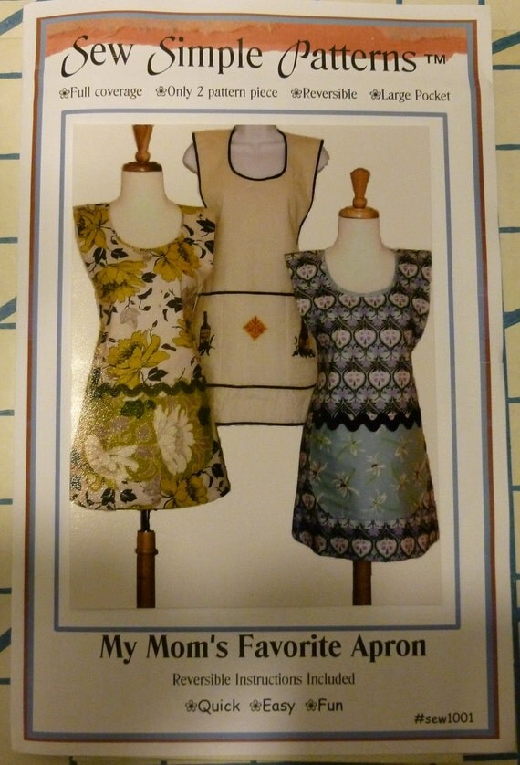 Sew Simple Patterns My Mom's Favorite Apron Pattern with Large Pocket - Reversible No. 1001