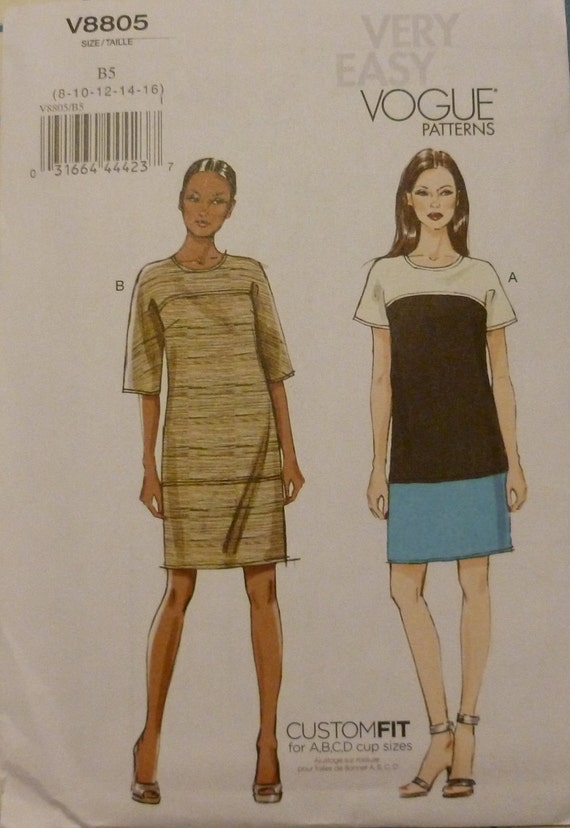 Very Easy Vogue Pattern V8805 Pullover Dress Pattern Sizes 8 - 16