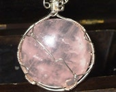 Pink Rose Quartz Pendant in Sterling Silver - FREE SHIPPING