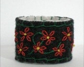 Red/Green and Black Felted Cuff w/ Embroidered Flowers