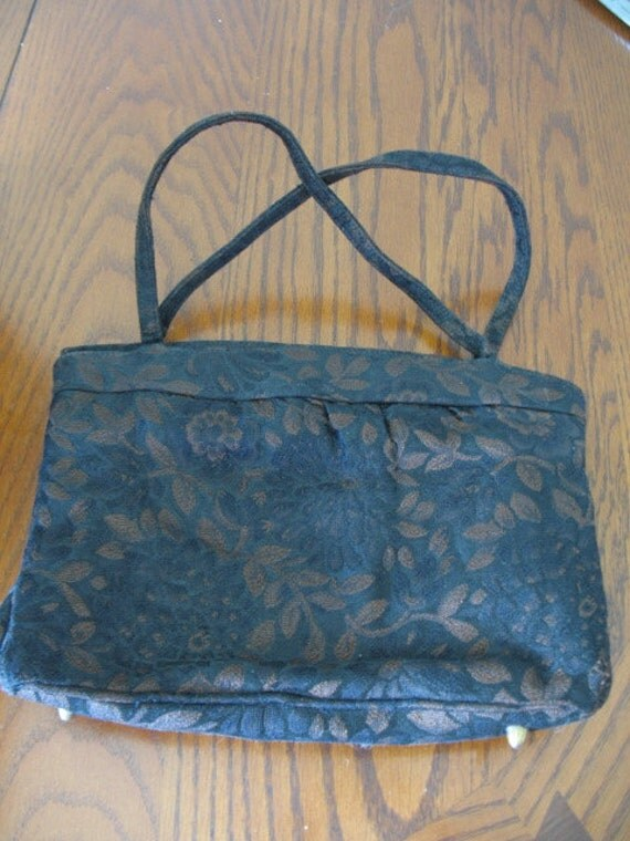 Vintage Black and Brown Floral Brocade Handbag Purse - Made by Theodore of California