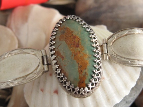 Silver Spoon and Green Turquoise Bracelet