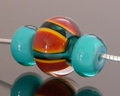 Lampwork Glass Beads, set of 3, teal, rust brown, golden yellow stripes, handmade artisan beads, focal bead with accent beads