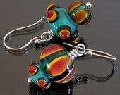 Lampwork Earrings, lampwork jewelry, asymmetric earrings, statement earrings, multicolored earrings, artisan earrings, Made to Order