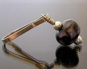 Zipper Pull, lampwork glass bead,Tessela in Midnight