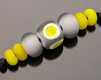 Lampwork glass beads, lampwork bead set, grey and yellow, etched matte beads, cube shape, focal bead, round spacer beads and accent beads