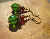 Bough and Branch Earrings -- Vintage Glass in Green & Brown, with Bold Gold Accents //  Proceeds Benefit Sandy Restoration