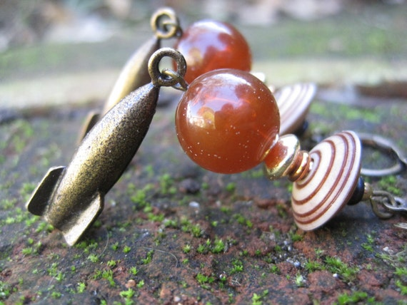 Life on Mars Earrings -- One-of-a-Kind Boho Planetary Rocket Earrings in Amber & Gold // Proceeds Aid Kids' Pain Clinic