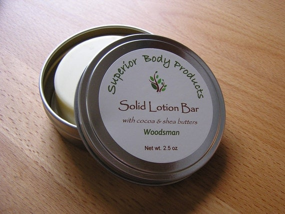 Woodsman Cocoa & Shea Butter Lotion Bar, Woodsman Scent for Men, 2.5 oz in metal tin