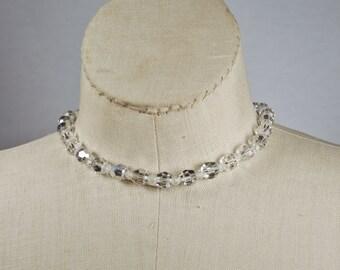 Vintage Aurora Borealis Glass Bead Choker Necklace