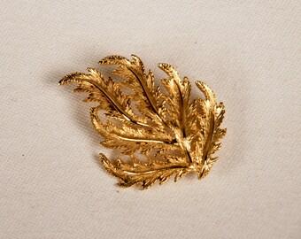 Vintage Gilt Leaf Brooch, Unsigned