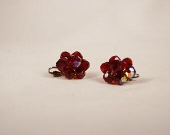 Vintage Cranberry Glass Aurora Borealis Bead Flower Clip Earrings