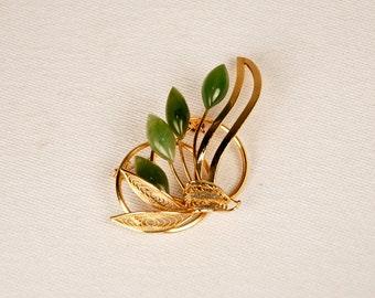 Vintage 70s 80s Faux Jade Agate Floral Brooch