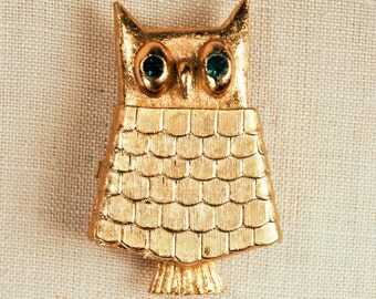 Vintage 1969 Avon Jewelled Owl Pin Solid Perfume Glace Figural Locket Brooch