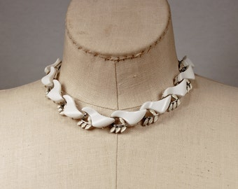 Vintage Opaque White Thermoset and Enameled Silver Metal Choker