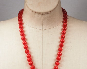 Vintage 1950s Cherry Red Thermoset Moonstone Pearl Necklace and Earrings Demi Parure Signed Japan