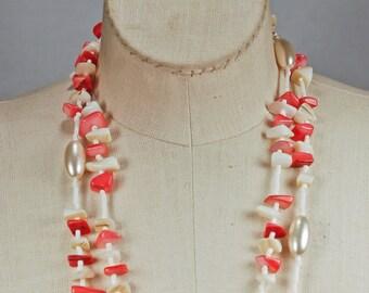 Vintage 60s Pink Shell Faux Pearl Demi Parure Japan