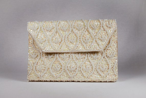 Vintage Hand Beaded Seed Pearl and Sequin Clutch, Hong Kong