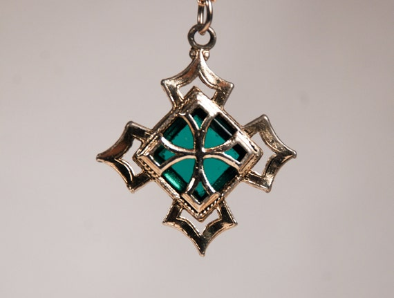Vintage 70s 80s Costume Midieval Cross Teal Glass Necklace