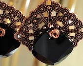 Copper Filigree Squares, Black Swarovski Crystal Metro Squares, Earrings