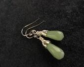 Sage Green Aventurine Silver Wire Wrapped Teardrop Earrings