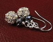 Rhinestone Rounds, Swarovski Crystal Earrings