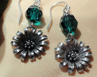 Sweet Flower, Emerald Swarovski Crystals, Pewter Sunflower Earrings