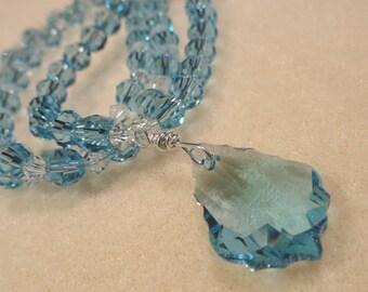 Glistening Sky Blue Temptation Swarovski Crystals Necklace