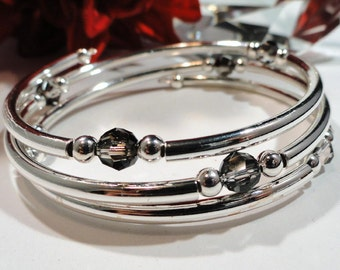 CHOOSE YOUR COLOR Custom Order Crystal and Silver Bangle Bracelet, Swarovski Crystals, Special Occasion