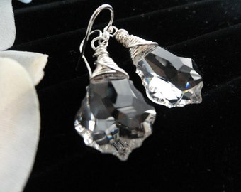 Stunning Swarovski Clear Crystal Faceted Baroque Silver Wire Wrapped Drop Earrings