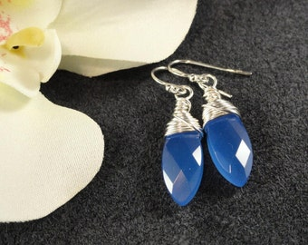 Blue Chalcedony Marquis Drop Silver Wire Wrapped Earrings