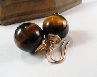 Gleaming Tiger Eye Large Rounds Wire Wrapped Earrings, Therapeutic Gemstones