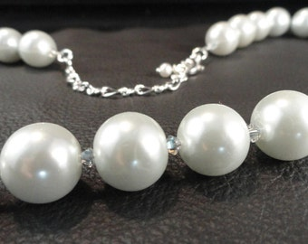 Chunky White Pearl and Crystals Necklace, Simple Elegance, Bridal Necklace