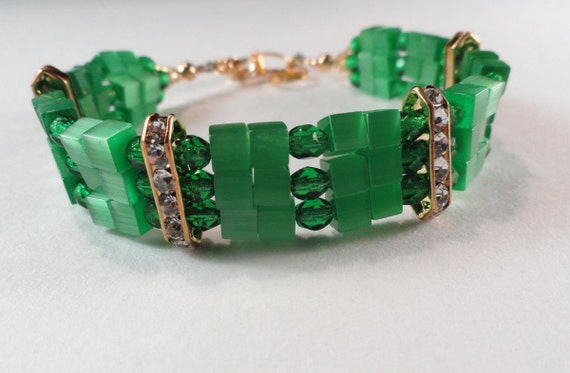 Emerald Green Cats Eye and Crystals Triple Strand Bracelet