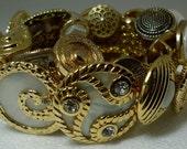 Designer Inspired Handmade Vintage Gold Button Bracelet Mixed Media Glam Jewelry