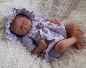 """Lavender Embroidered Gingham Romper and Sun Hat for 14-16"""" reborn preemie baby dolls"""