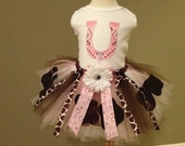 COWGIRL Birthday Tutu - Light Pink, White, and Brown, Birthday, Holiday, Pageant