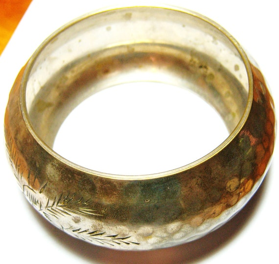 Reserved for Norie wide silver tone with etched flowers vintage bangle bracelet