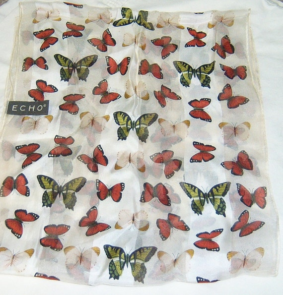 Echo long and thin butterfly scarf