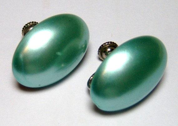 light pearlish blue oval vintage screw on earrings