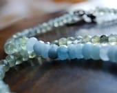 FREE US SHIPPING - Unique green tourmaline and blue aquamarine choker necklace