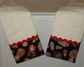 Matryoshka Russian Dolls Baby Burp Cloth Set