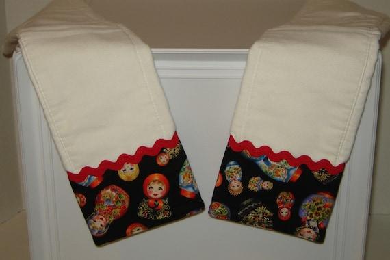 Matryoshka Russian Dolls Baby Burp Cloth Set