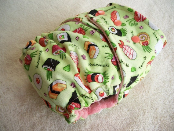 Sushi Print with Coral Pink Cotton Velour Fitted Cloth Diaper - OSFM One Size Fits Most - WOVEN