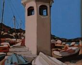 The Lighthouse Acrylic on Canvas 28x20 Sea Boats Blue Mediterranean Nautical