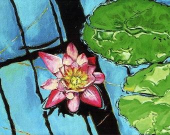 Pink Waterlily, Original Acrylic Painting