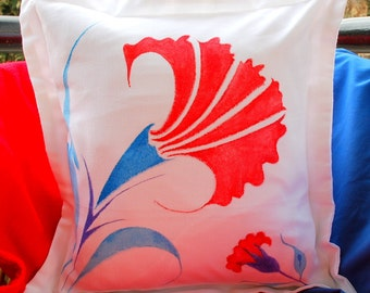 Cushion Cover Hand Painted Blue Red Turquoise Clove Flower