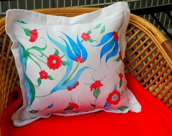 Cushion Cover Hand Painted Blue Red Turquoise Tulip Flower