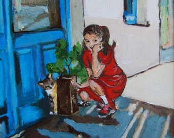 Girl with Cat Original Acrylic Painting