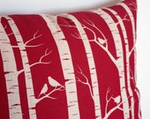 HANDPRINTED Birch Forest Cushion Cover (Pillow Cover) in Red